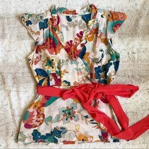 Anthropologie Odille Silk Wrap Blouse